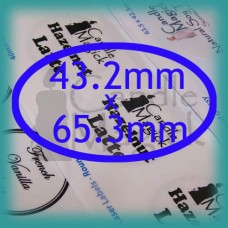 Upload your own design! CRYSTAL CLEAR (GLOSSY) Custom Labels - 42.3mm x 63.5mm OVAL x 18 (per page)